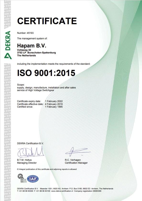 Hapam ISO9001